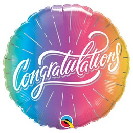 18 inch-es Gratulálunk - Congratulations Vibrant Ombre Fólia Lufi Ballagásra