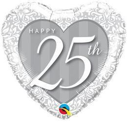 18 inch-es Happy 25th Damask Heart Fólia Lufi