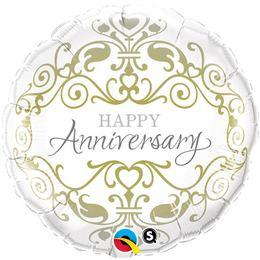 18 inch-es Happy Anniversary Esküvői Fólia Lufi