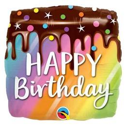 18 inch-es Happy Birthday Csokitorta Mintás - Rainbow Drip Cake Szülinapi Fólia Lufi