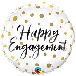 18 inch-es Happy Engagement Gold Dots Eljegyzési Fólia Lufi