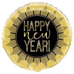 18 inch-es Happy New Year Fekete Arany Fólia Lufi