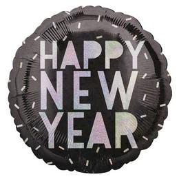 18 inch-es Happy New Year Irrizáló Feliratú Szilveszteri Fólia Lufi