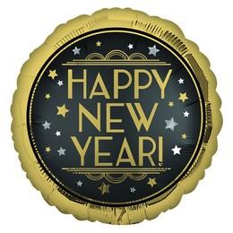 18 inch-es Happy New Year Retro Satin Szilveszteri Fólia Lufi