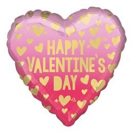 18 inch-es Happy Valentine's Day Arany Pink Piros Szív Fólia Lufi Valentin-napra