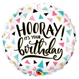 18 inch-es Hurrá! Ma van a Szülinapod - Hooray! It's Your Birthday Fólia Lufi