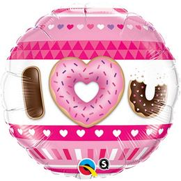 18 inch-es I Heart U Donut Szerelmes Fólia Lufi