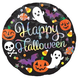 18 inch-es Irizáló Happy Hallowen - Iridescent Halloween Fólia Lufi Halloween-re