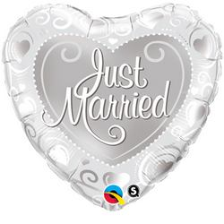 18 inch-es Just Married Hearts Silver Esküvői Fólia Lufi