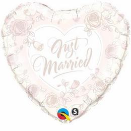 18 inch-es Just Married Roses Esküvői Szív Fólia Lufi