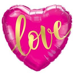 18 inch-es Love Gold Szív Fólia Lufi Valentin-napra