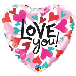 18 inch-es Love You Converging Heart Szerelmes Szív Fólia Lufi