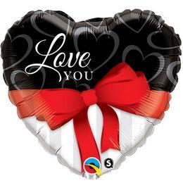 36 inch-es Love You Red Ribbon Szerelmes Szív Alakú Fólia Lufi