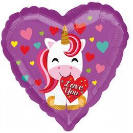 18 inch-es Love You Unicorn Szív Fólia Lufi