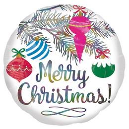 18 inch-es Merry Christmas - Karácsonyfa Dísz Holografikus Fólia Lufi Karácsonyra