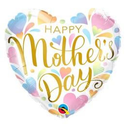18 inch-es Mother's Day Pastel Heart Anyák-napi Szív Fólia Lufi