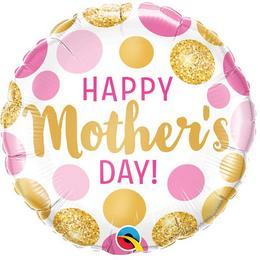18 inch-es Mother's Day Pink & Gold Dots Anyák-napi Fólia Lufi