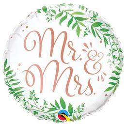 18 inch-es Mr. & Mrs. Elegant Greenery Esküvői Fólia Lufi