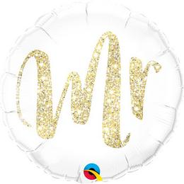 18 inch-es Mr. Feliratú Glitter Gold Fólia Lufi