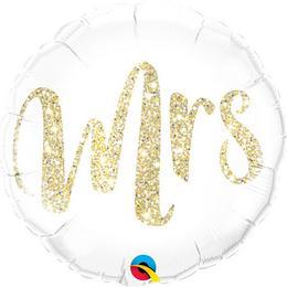 18 inch-es Mrs. Feliratú Glitter Gold Fólia Lufi