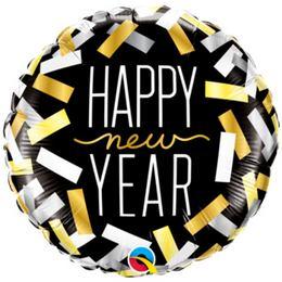 18 inch-es New Year Confetti Stripes Szilveszteri Fólia Lufi