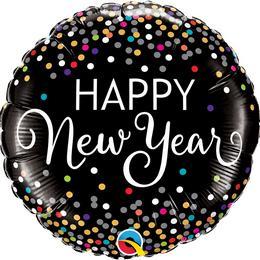 18 inch-es Happy New Year Confetti Szilveszteri Fólia Lufi
