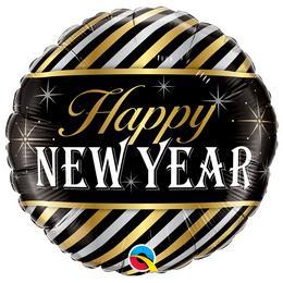18 inch-es New Year Diagonal Stripes Szilveszteri Fólia Lufi