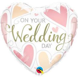 18 inch-es On Your Wedding Day Hearts Esküvői Szív Fólia Lufi