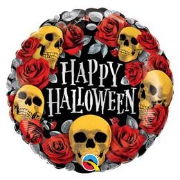 18 inch-es Rózsák és Koponyák - Halloween Golden Skulls Fólia Lufi