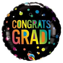18 inch-es Színes Pöttyös Fekete Congrats Grad Ombre Dots Fólia Lufi Ballagásra