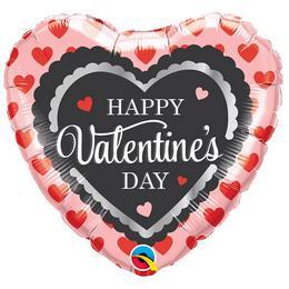 18 inch-es Valentine's Scalloped Trim Szerelmes Szív Fólia Lufi