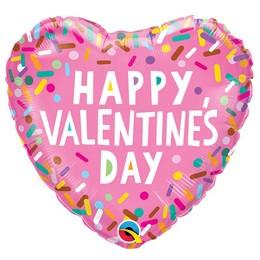 18 inch-es Színes Cukorka Mintás - Valentine's Sprinkles Szív Fólia Lufi