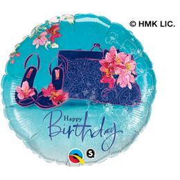 18 inch-es Virágos Cipő és Táska - Birthday Shoes & Handbag Szülinapi Fólia Lufi