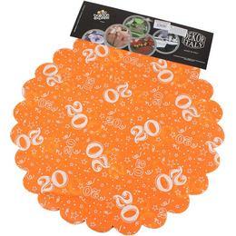 20-as Narancssárga Szülinapi Kerek Dekorációs Textil - 48 cm, 24 db-os
