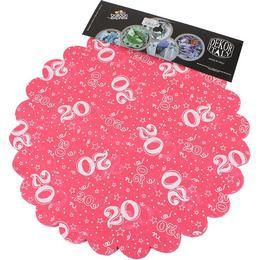 20-as Pink Szülinapi Kerek Dekorációs Textil - 48 cm, 24 db-os