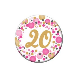 20-as Rózsaszín Pasztell Konfettis Szülinapi Számos Parti Kitűző - 5,5 cm