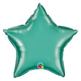 20 inch-es Chrome Zöld - Chrome Green Csillag Fólia Lufi