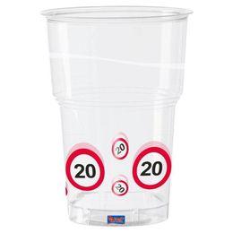 20-as Sebességkorlátozó Számos Szülinapi Műanyag Parti Pohár - 350 ml, 10 db-os