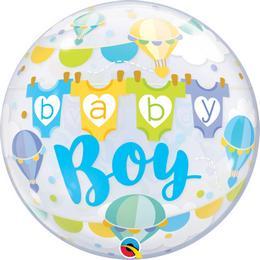 22 inch-es Baby Boy Hot Air Balloons Bubble Lufi Babaszületésre