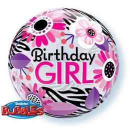 22 inch-es Birthday Girl Virágos Zebra Stripes Bubble Lufi