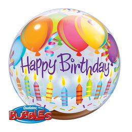 22 inch-es Birthday Balloons & Candles Szülinapi Bubbles Lufi