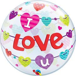 22 inch-es I Love U Banner Hearts Szerelmes Bubble Lufi