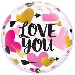 22 inch-es Nyíllal Átlőtt Szív Mintás - Love You Hearts & Arrows Bubble Lufi