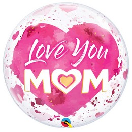 22 inch-es Love You Mom Pink Bubble Lufi Anyák Napjára