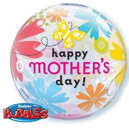22 inch-es Mother's Day Butterfly Floral Anyák-napi Bubble Lufi