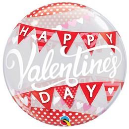 22 inch-es Pöttyös és Zászlófüzér Mintás - Valentine's Day Bubble Lufi Valentin-napra