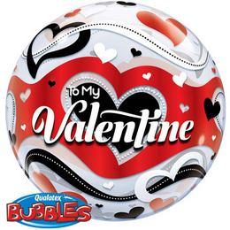 22 inch-es To My Valentine Banner Hearts Szerelmes Bubble Lufi