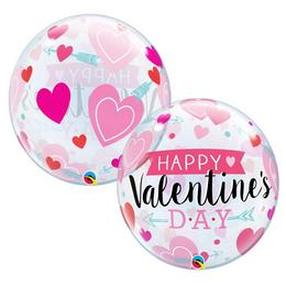 22 inch-es Valentine's Arrow and Hearts Szerelmes Bubble Lufi