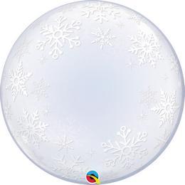 24 inch-es Frosty Snowflakes Karácsonyi Deco Bubble Lufi