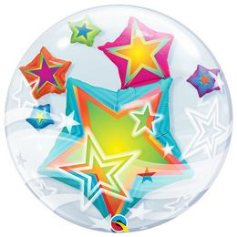 24 inch-es Multicolored Stars - Csillagos Double Bubble Lufi